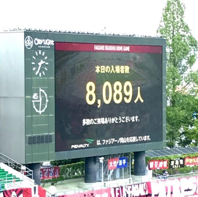 入場者数8,089人。う〜ん、やっぱりスタンド空いてるもんね……これで今シーズン平均入場者数8,587に。