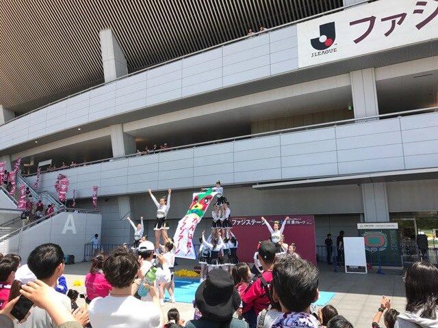 岡山学芸館高校チアリーディング「JUMPERS」の皆さん、もちろんファジアーノを応援してくれてるよ!
