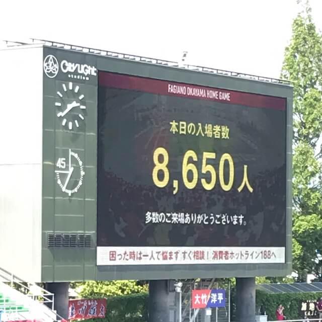 本日の入場者数は8,650人。これでシーズン平均は8,638人。