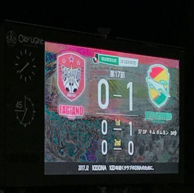 試合は34分、千葉のキム・ボンヨン選手にズドンと先制点を決められてしまう