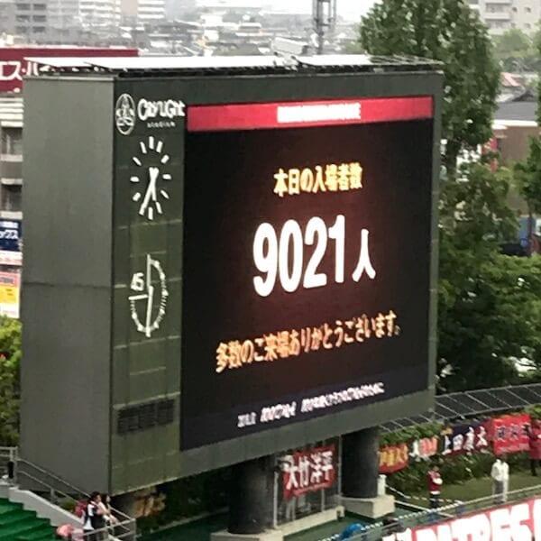 この日の入場者数は9,021人